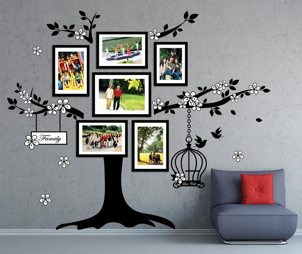Sticker cu 6 rame foto Photo Frame Birdcage - Wallplus, Negru