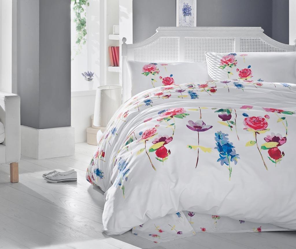 Lenjerie de pat King Ranforce Spring Splash - Cotton Box, Alb imagine 2021