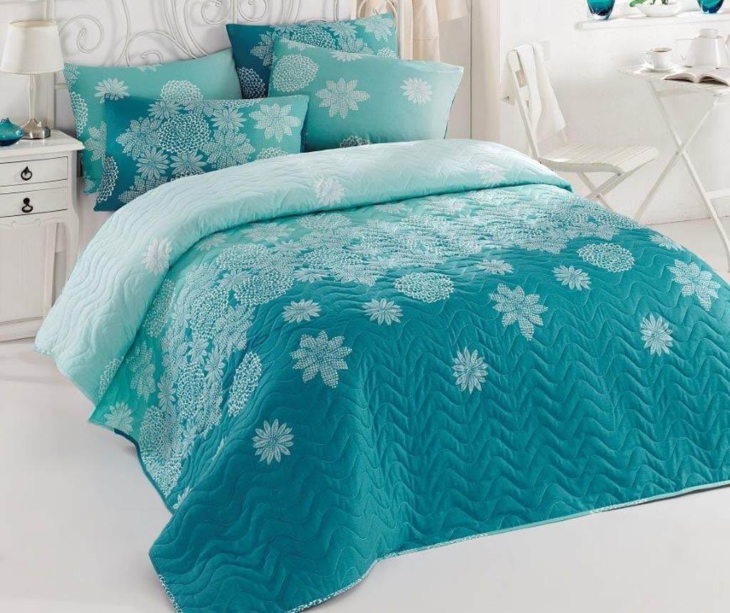 Set cuvertura matlasata Double Simay Turquoise - Eponj Home, Albastru