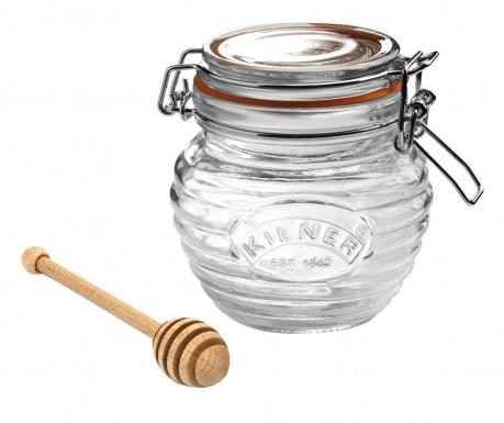 Буркан с капачка с херметично затваряне и лъжичка за мед Clip Top Bee 400 мл