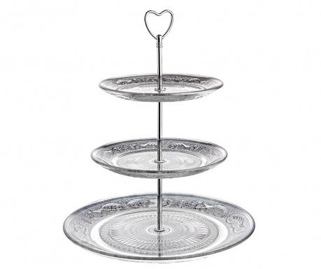 Platou cu 3 niveluri Jolie Heart Silver