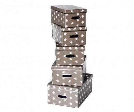 Комплект 5 кутии с капак за съхранение Joachim Dark Grey