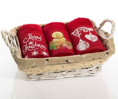 Set 3 prosoape de bucatarie in cos Christmas Bell Gifts 30x50 cm