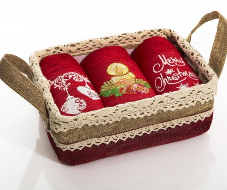 Santa Christmas Gifts 3 db Konyhai törölköző kosárban 30x50 cm