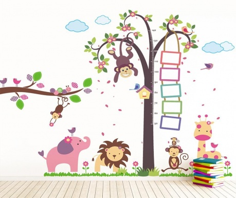 sticker monkey height measure and animals vivre ro