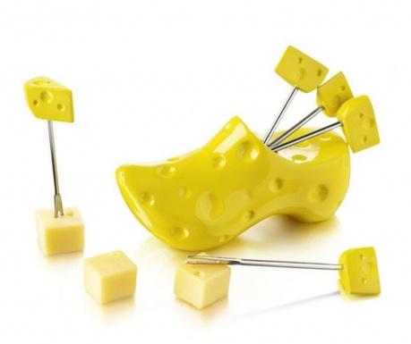 Set 6 štapića za predjela i držač Party Cheesy
