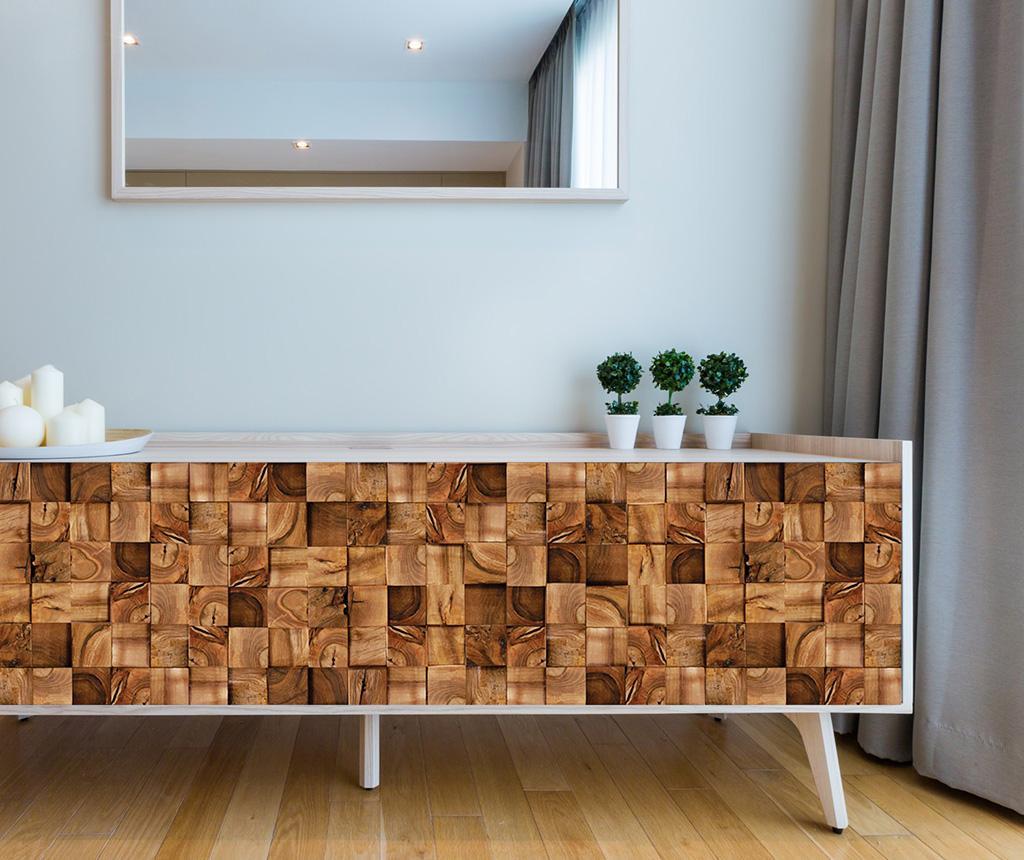 Sticker Square Timber - Wallplus, Maro