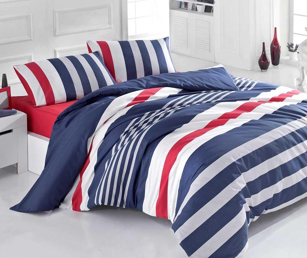 Lenjerie de pat King Ranforce Stripe Dark Blue Red 200x220 - Victoria, Albastru