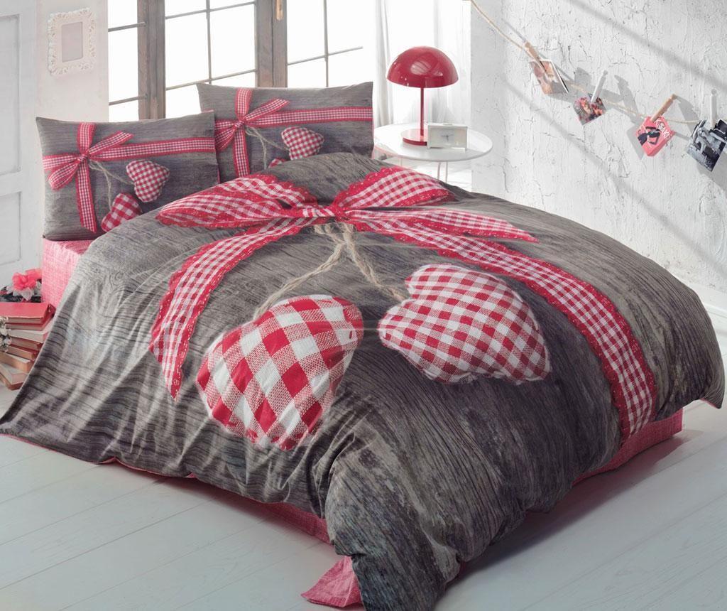 Lenjerie de pat King Ranforce 3D Lovebox Red 200x220 - Cotton Box, Gri & Argintiu,Multicolor de la Cotton Box