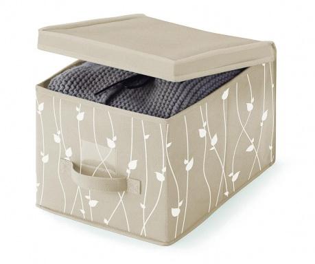 Skladovacia krabica s vrchnákom Beige Leaves S