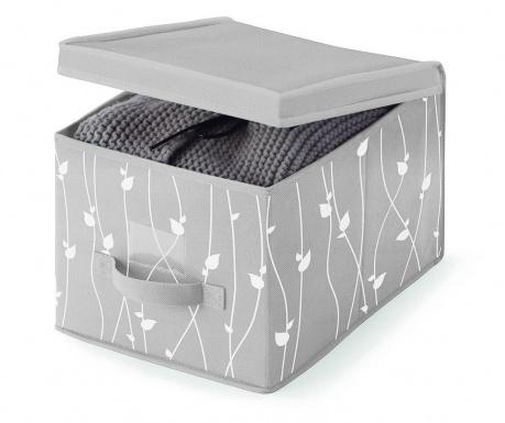 Úložná krabica s vekom Leaves Grey S