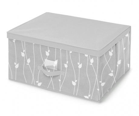 Úložná krabica s vekom Leaves Grey L