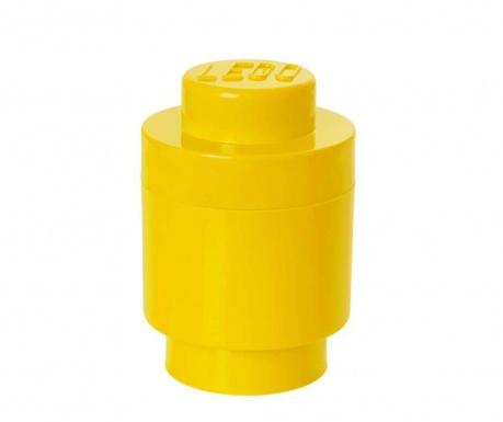 Kutija za pohranu s poklopcem Lego Round Yellow