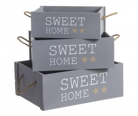 Sada 3 krabic Sweet Home Grey