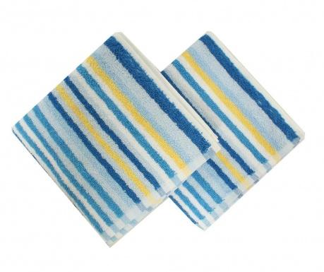 Zestaw 2 ręczników kąpielowych Stripes Blue 40x80 cm