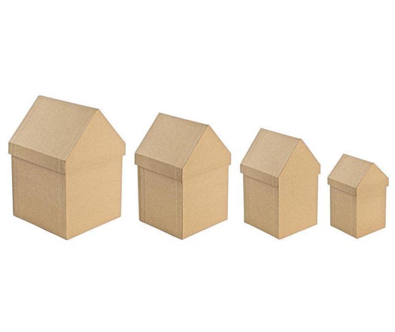 Set 4 cutii cu capac pentru pictat Cute Houses