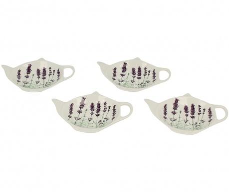 Sada 4 podstavců na čajové sáčky Lavender White