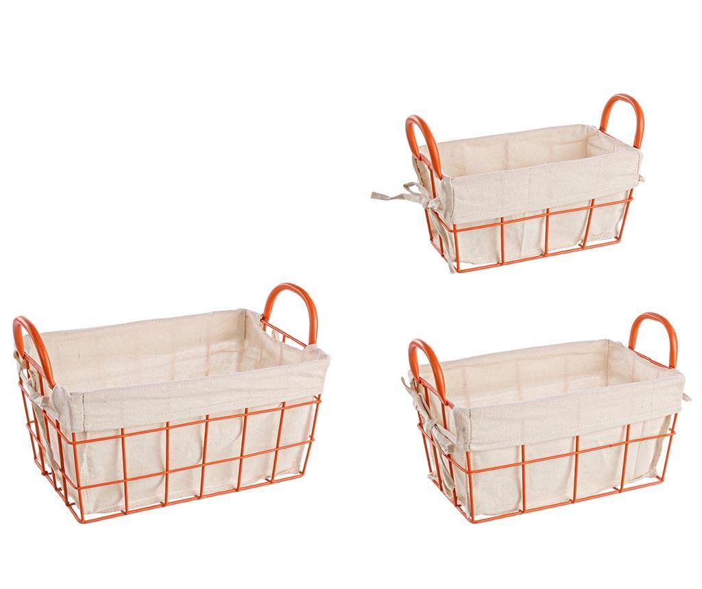 Set 3 cosuri pentru depozitare Samar Orange - Bizzotto, Portocaliu de la Bizzotto
