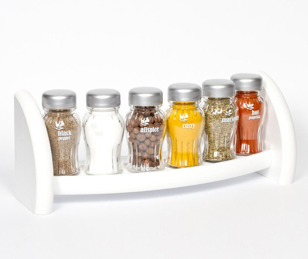 Set 6 recipiente cu condimente si suport suspendabil Aroma White - GALD, Alb