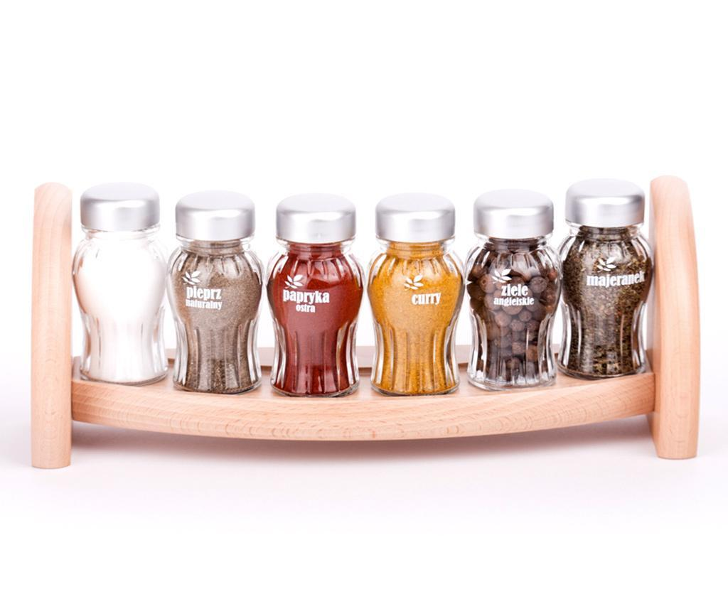 Set 6 recipiente cu condimente si suport suspendabil Aroma Natural - GALD, Crem