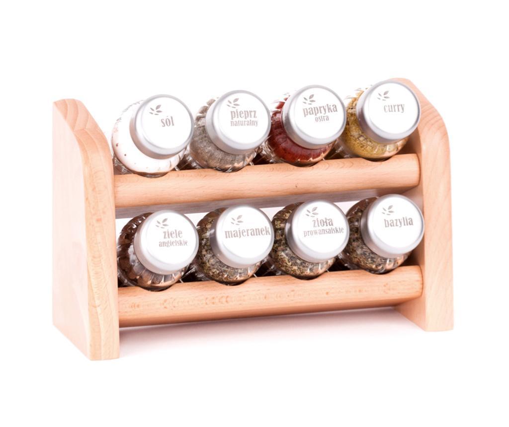 Set 8 recipiente cu condimente si suport suspendabil Siren Natural - GALD, Crem