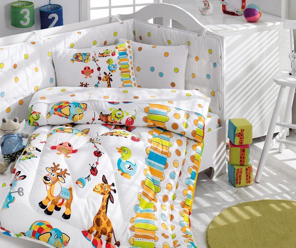 Lenjerie de patut, pilota si protectie Ranforce Giraffe 95x145 - Cotton Box, Multicolor