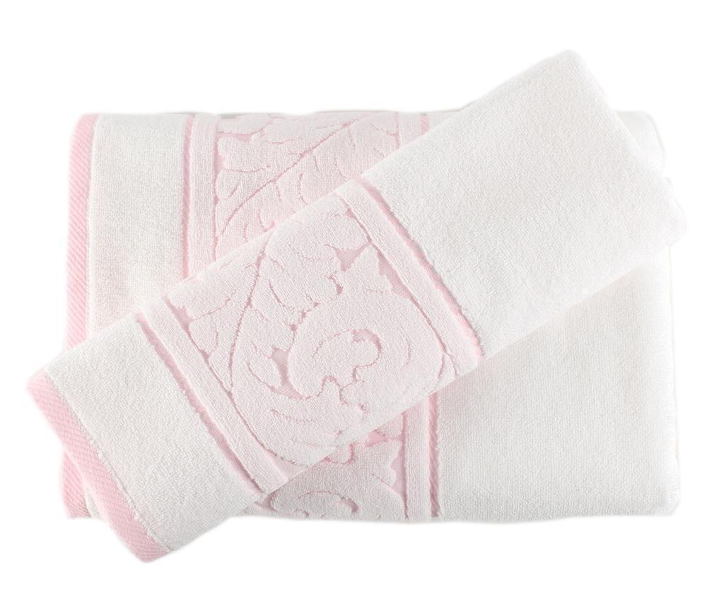 Set 2 prosoape de baie Sultan White Pink - Hobby, Alb
