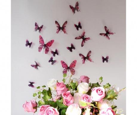 Zestaw 18 naklejek 3D Butterfly Pink