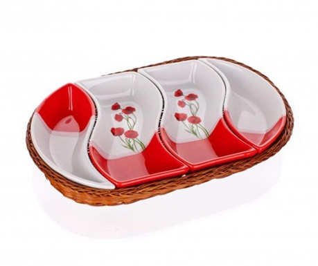 Sada na predjedlo 5 ks Red Poppy Basket Oval