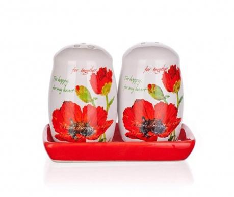 Set solnita si pipernita cu suport Red Poppy