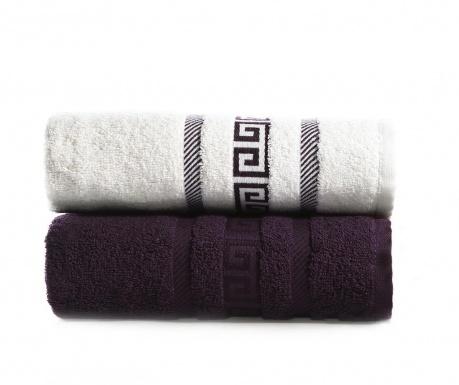 Zestaw 2 ręczniki kąpielowe Seals White Violet 50x90 cm