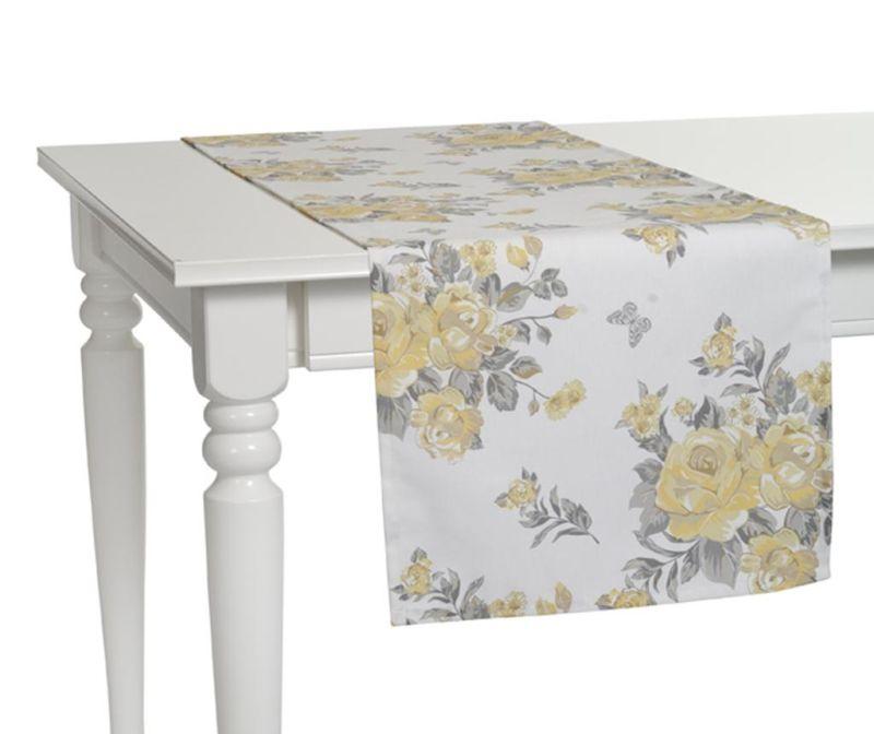 Traversa de masa Roses White Yellow 40x140 cm