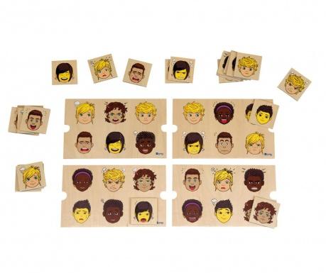 Gra w dopasowywanie i sortowanie 28 elementów Facial Expressions