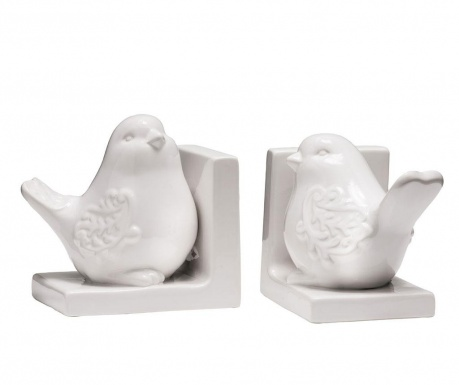 Set 2 suporturi carti Birds White