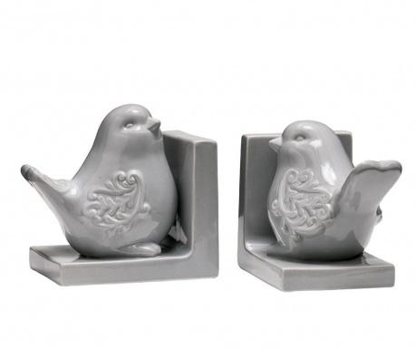 Комплект 2 подпирачки за книги Birds Grey