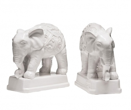 Set 2 suporturi pentru carti Elephant White