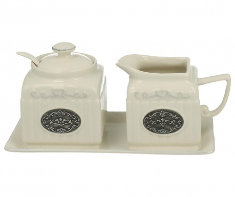 Set of sugar bowl, milk jug and tray Lamella