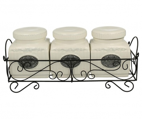 Set of 3 canisters with holder Lamella