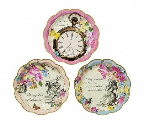 Set 12 krožnikov za enkratno uporabo Truly Alice Whimsical