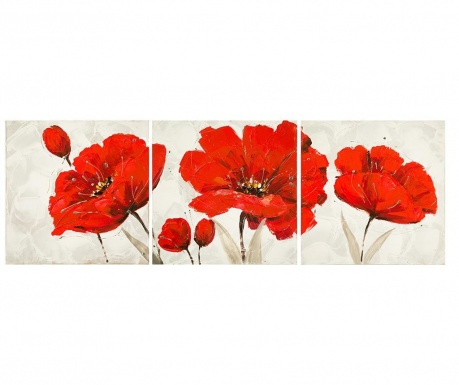 Zestaw 3 obrazów Red Flower 40x40 cm