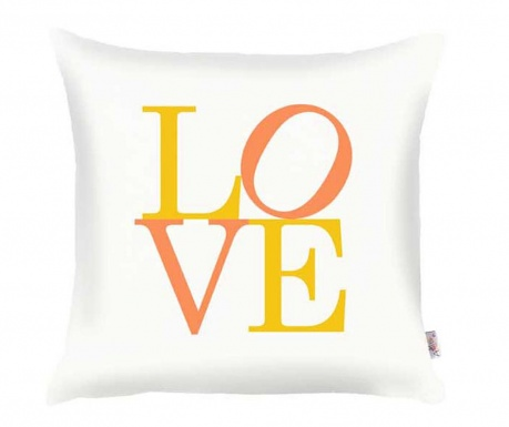 Μαξιλαροθήκη Love White Yellow Orange 35x35 cm
