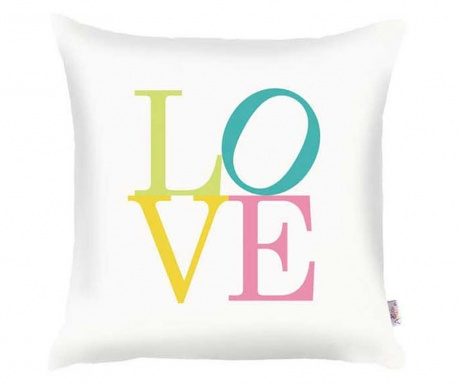 Fata de perna Love White Green Blue Yellow 35x35 cm
