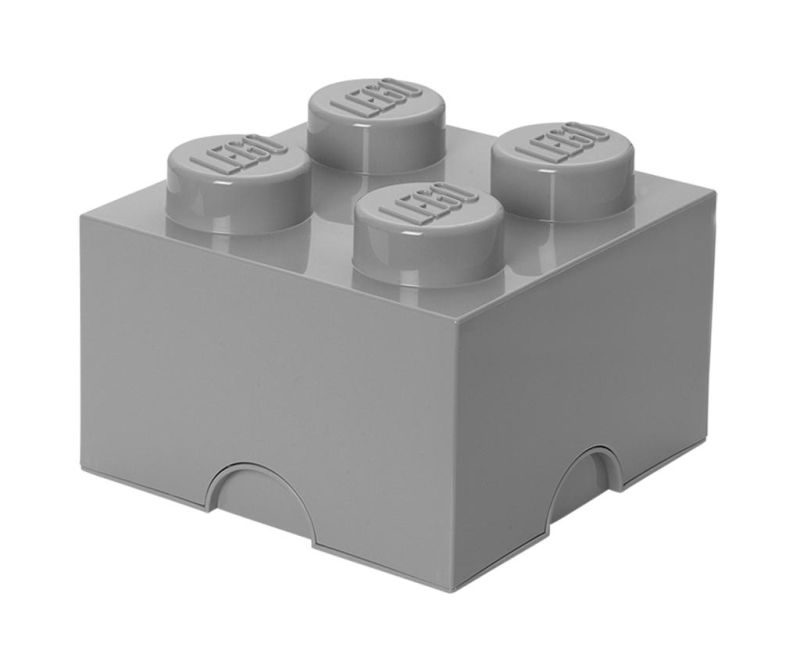 Cutie cu capac Lego Square Four Light Grey