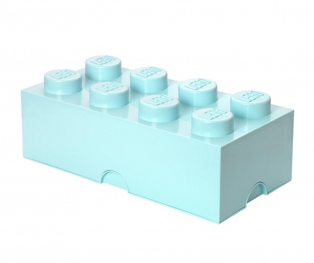 Kutija za pohranu s poklopcem Lego Rectangular Extra Light Blue