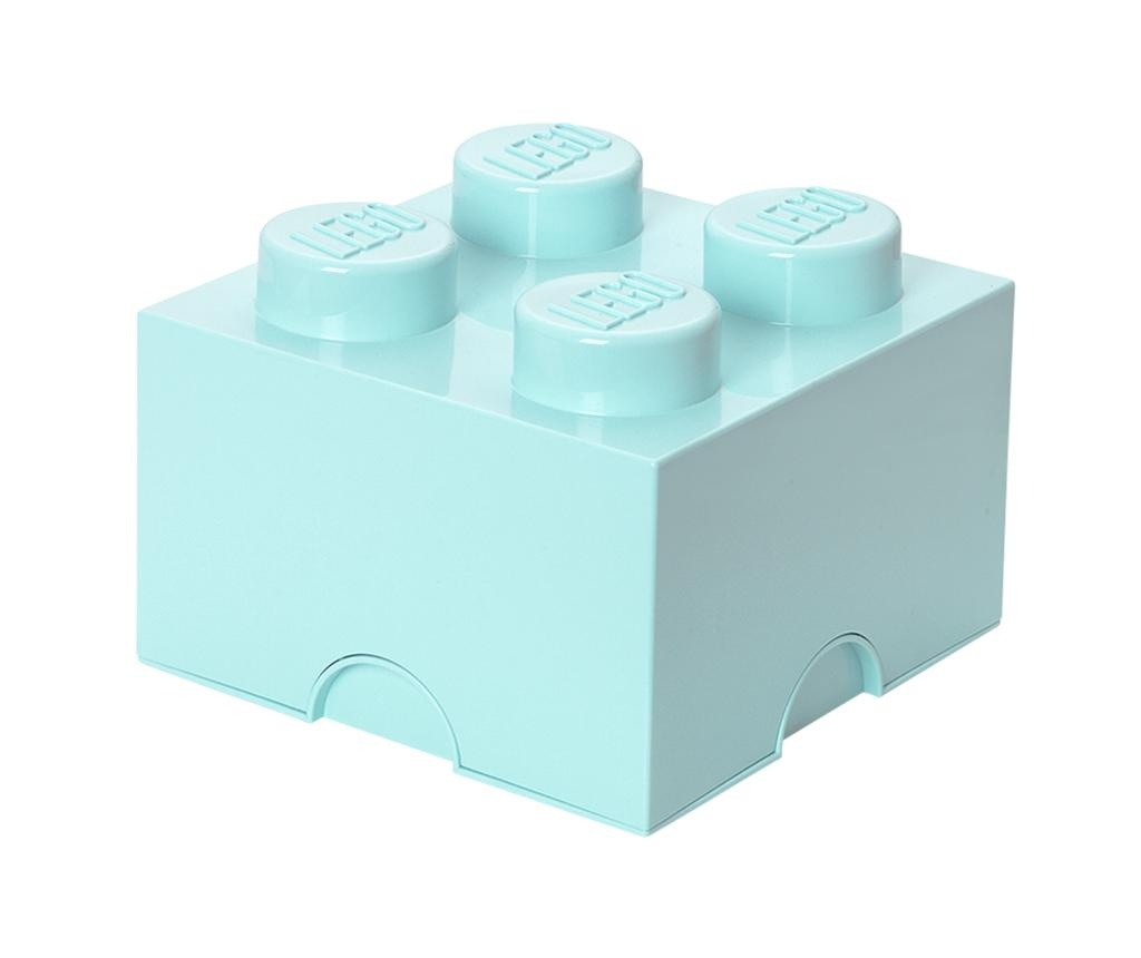 Lego Square Four Light Blue Doboz fedővel