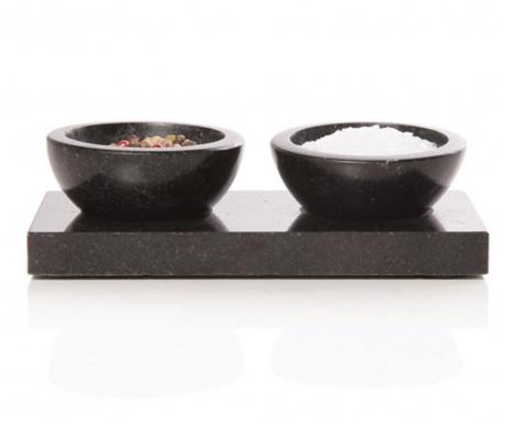 Set 2 boluri pentru aperitive si suport Basic Black