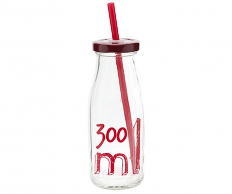 Láhev s víkem a brčkem Decal 300 ml