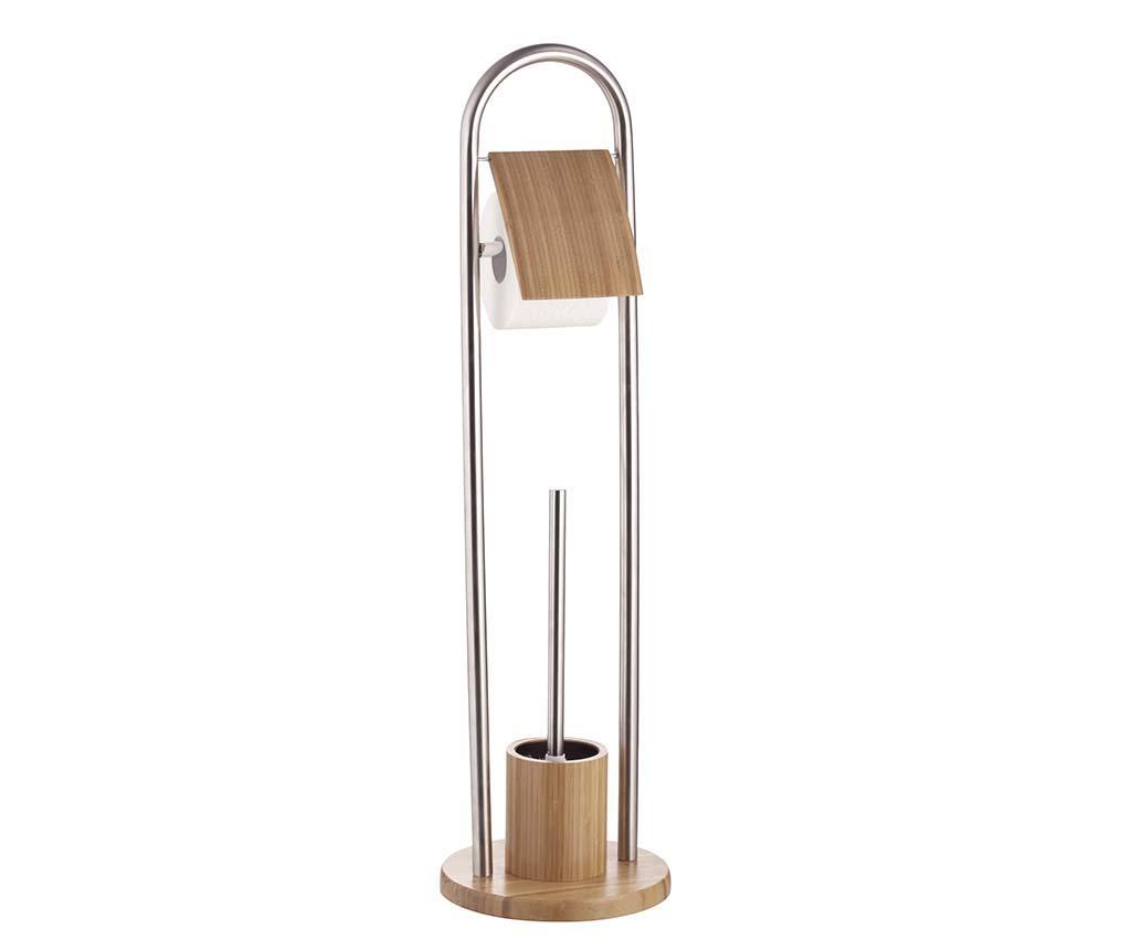 Suport pentru hartie igienica si perie de toaleta Bamboo Duo - Axentia, Gri & Argintiu