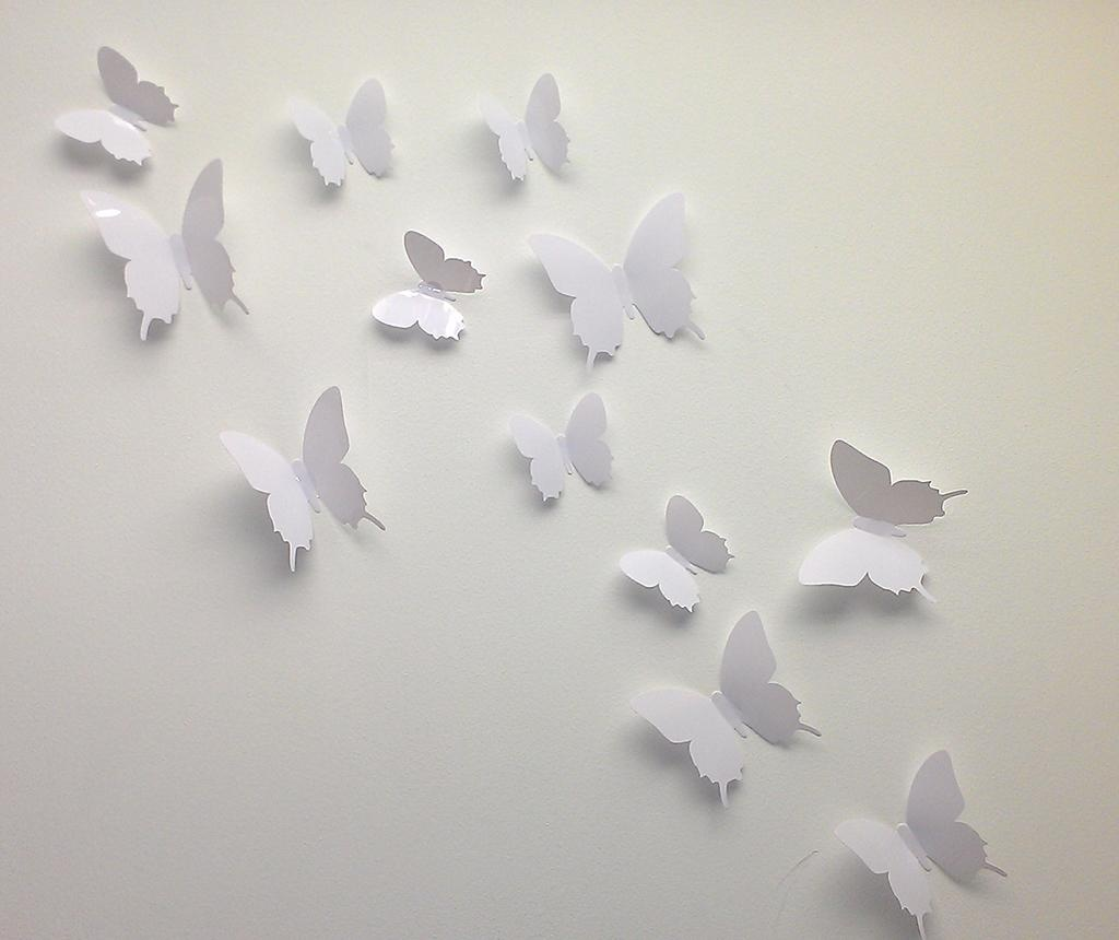 White Little Butterfly 12 db 3D Matrica