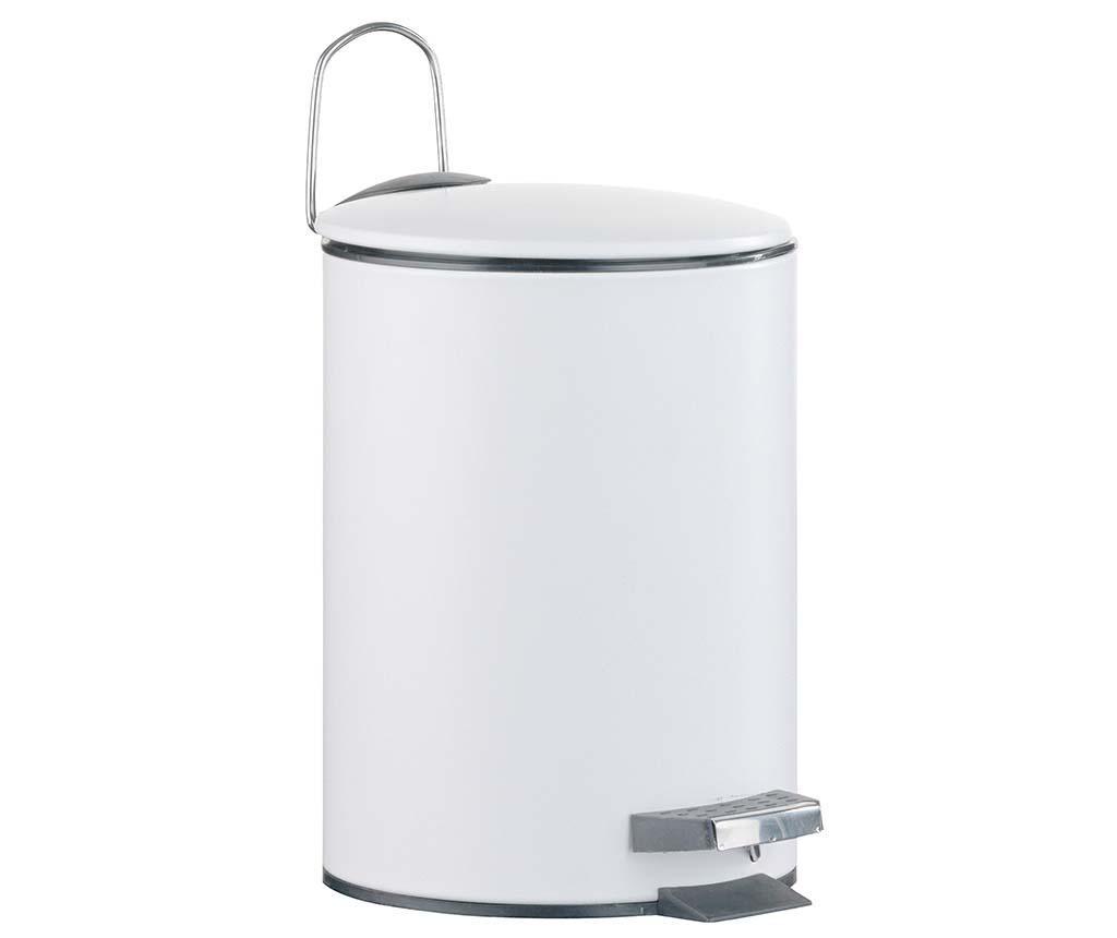 Cos de gunoi cu capac si pedala Lugano White 3 L